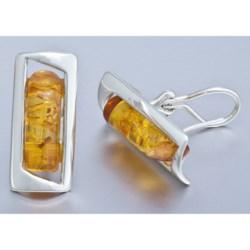Vessel Amber Omega Designer Earrings - Post Backs