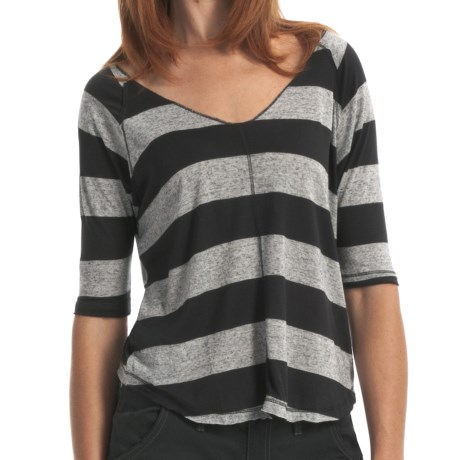 Billabong Back Me Up Heather Stripe T-Shirt - V-Neck, 3/4 Sleeve (For Women)