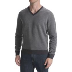 Scott Barber Birdseye Sweater - Extra-Fine Merino Wool, V-Neck (For Men)