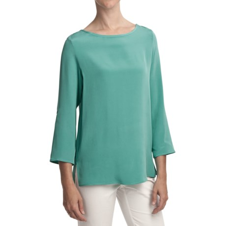 Louben Silk Boatneck Shirt - Long Sleeve (For Women)