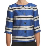 Louben Collarless Crop Jacket - 3/4 Sleeve (For Women)