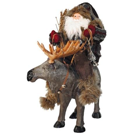 "Santa's Workshop Big Tracks Collectible Santa and Moose Figure - 22"""