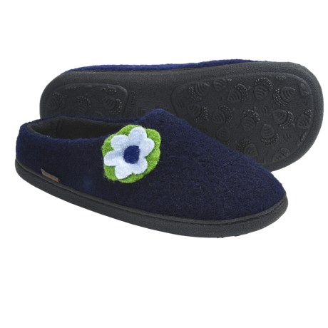 Acorn Flower Mule Slippers - Boiled Wool, Fleece Lining (For Women)