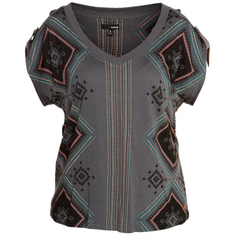 Hurley Stitches Print Shirt - Cotton-Modal, Short Cap Sleeve (For Women)