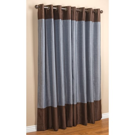 """Commonwealth Home Fashions Sabrina Banded Curtains - 104x84"""", Grommet-Top, Faux Silk"""