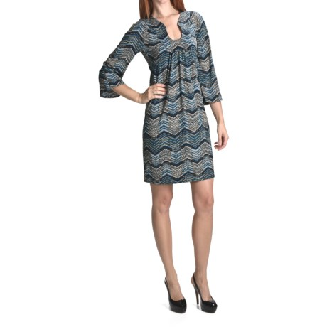 Laundry by Design Chevron Matte Jersey Dress - 3/4 Sleeve (For Women)
