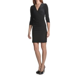 Laundry by Design Matte Jersey Faux-Wrap Dress - Trapunto Stitching, 3/4 Sleeve (For Women)
