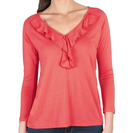 Lilla P Ruffle Shirt - Pima Cotton-Modal, 3/4 Sleeve (For Women)