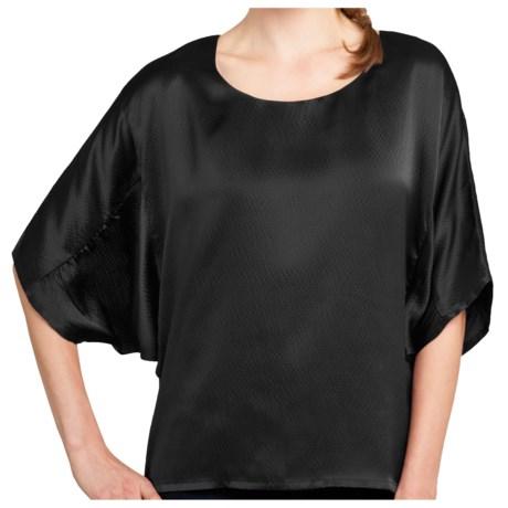 Lilla P Hammered Silk Shirt - Shirred 3/4 Dolman Sleeve (For Women)