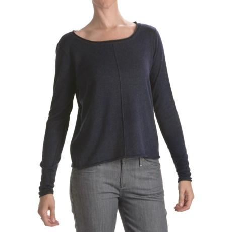 Lilla P Crop Sweater - Cotton-Modal-Cashmere, Bateau Neck (For Women)