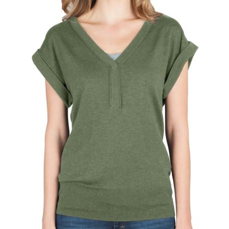Lilla P Split Neck Sweater - Cotton-Modal-Cashmere, Short Sleeve (For Women)