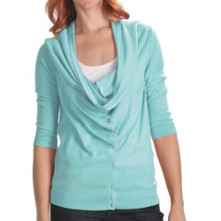 Lilla P Drape Neck Cardigan Sweater - Cotton-Modal, 3/4 Sleeve (For Women)