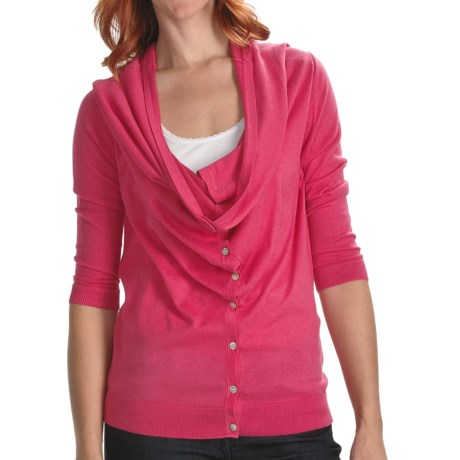 Lilla P Drape Neck Cardigan Sweater - Cotton-Modal, 3/4 Sleeve (For Women)