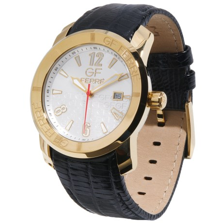 GF Ferre Watch - Gold Stainless Steel Case, Date Window