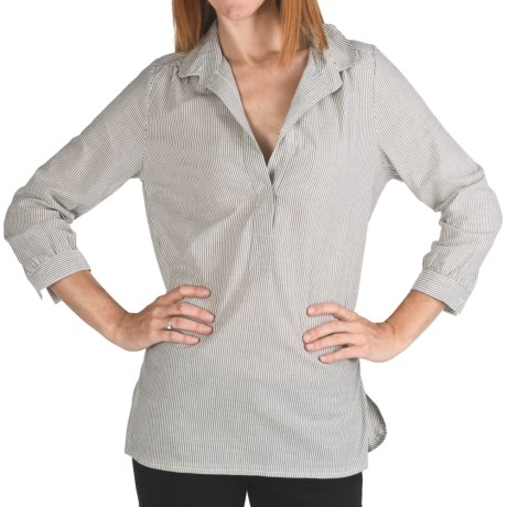 Lilla P Pinstripe Woven Tunic - 3/4 Sleeve (For Women)