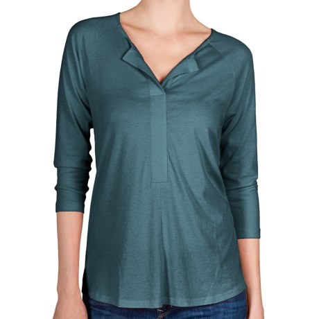Lilla P Henley Shirt - Pima Cotton-Modal, 3/4 Sleeve (For Women)