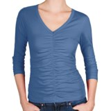 Lilla P Pima Jersey Shirred Shirt - V-Neck, 3/4 Sleeve (For Women)