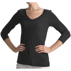Lilla P Basic Deep V-Neck Shirt - Pima Cotton, 3/4 Sleeve (For Women)