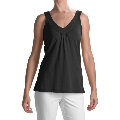 Lilla P Whisper Weight Double V-Neck Tank (For Women)