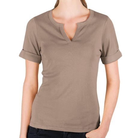 Lilla P Split Neck Shirt - Ribbed Pima Cotton, Rolled Short Sleeve (For Women)