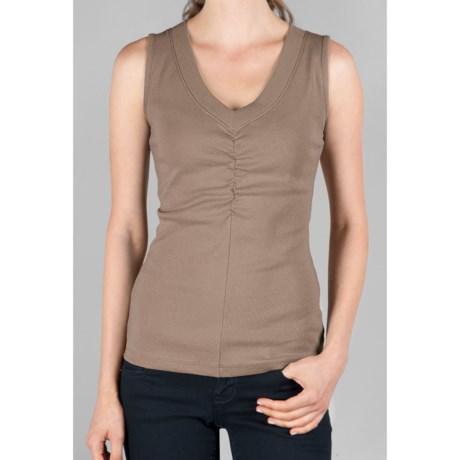 Lilla P Shirred Center V-Neck Tank Top - Ribbed Pima Cotton (For Women)