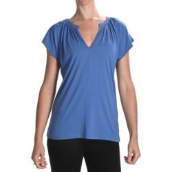 Lilla P Shirred Dolman Shirt - Pima Cotton-Modal, Short Sleeve (For Women)