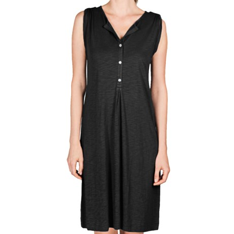 Lilla P Flame Henley Dress - Pima Cotton-Modal, Tab Shoulder (For Women)