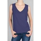 Lilla P Flame Shirred Tank - Pima Cotton, V-Neck (For Women)
