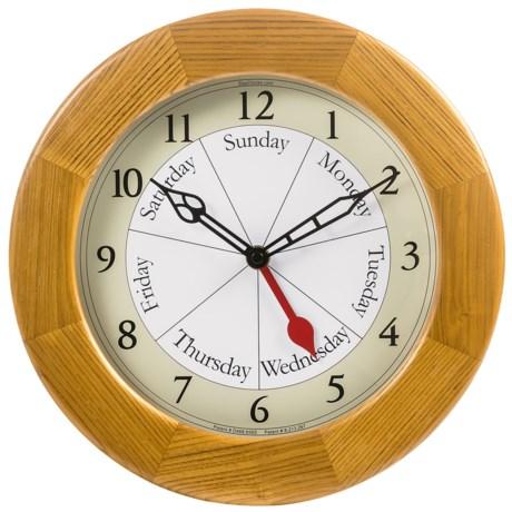 DayClock Contemporary Clock - Oak