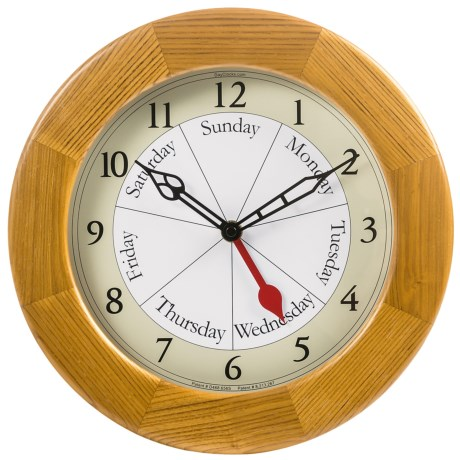 DayClock Contemporary Clock - Oak
