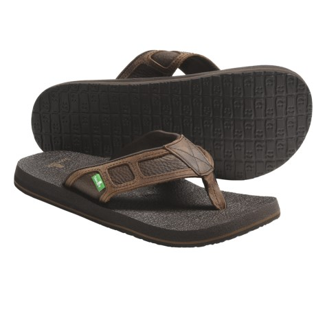 Sanuk Last Call Sandals - Leather, Flip-Flops (For Men)