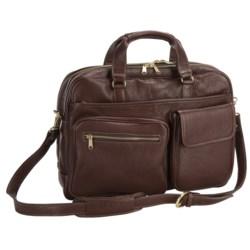 Aston Top Zipper Briefcase - Double Compartment