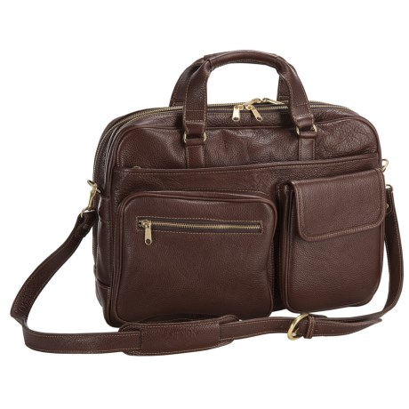 Aston Leather Aston Top Zipper Briefcase - Double Compartment