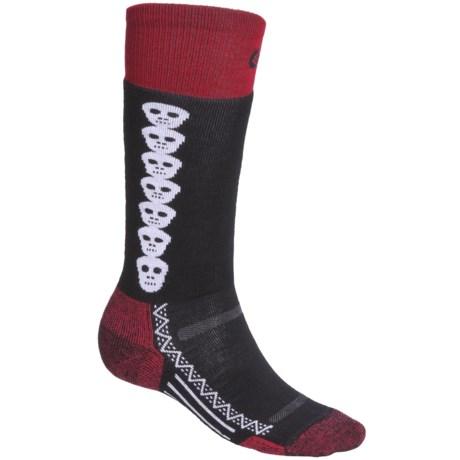 Point6 Snowboard Skulls Socks - Merino Wool, Over-the-Calf (For Men and Women)