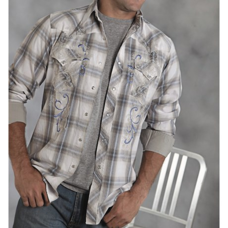 Roper Ombre Plaid Western Shirt - Long Sleeve (For Men)