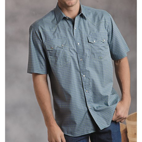 Roper Amarillo Sage Valley Shirt - Diamond Print, Short Sleeve (For Men)
