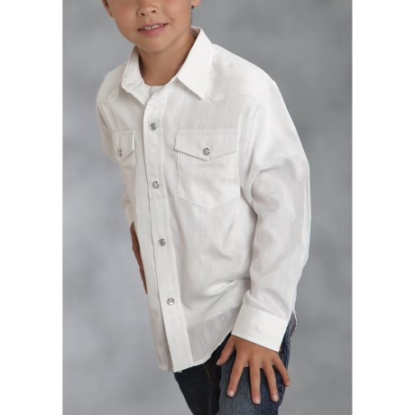 Roper Classic Tone-on-Tone Western Shirt - Diamond Dobby, Long Sleeve (For Boys)