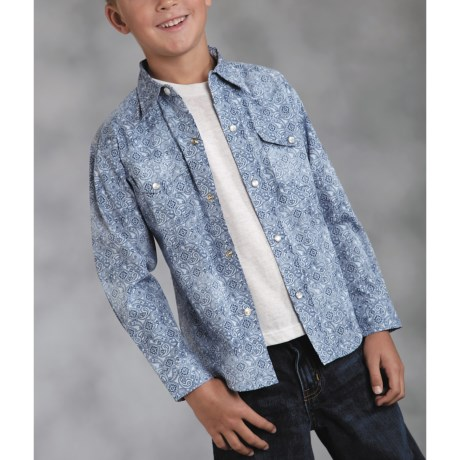 Roper Performance Paisley Western Shirt - Long Sleeve (For Boys)