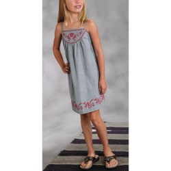 Roper Embroidered Sun Dress - Cotton Chambray (For Girls)