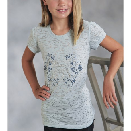 Roper Printed Burnout Jersey Knit Shirt - Puff Short Sleeve (For Girls)