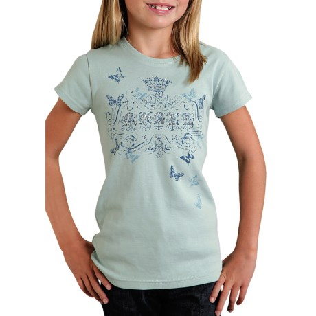 Roper Printed Knit T-Shirt - Ribbed Cotton, Short Sleeve (For Girls)
