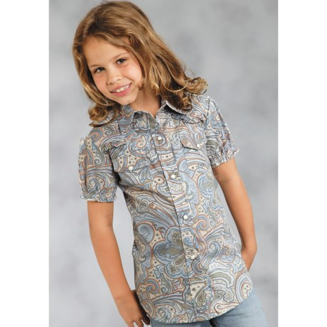Roper Amarillo Tall Pines Paisley Snap-Front Shirt - Short Sleeve (For Girls)