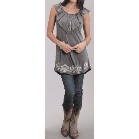 Stetson Spring Knit Ruffle Tunic - Sleeveless (For Women)