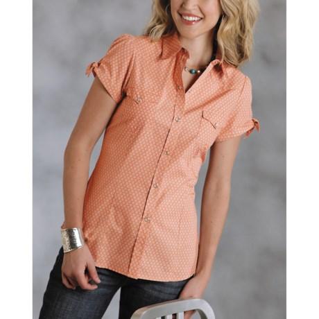 Roper Amarillo Western Shirt - Diamond Wallpaper, Short Sleeve (For Women)