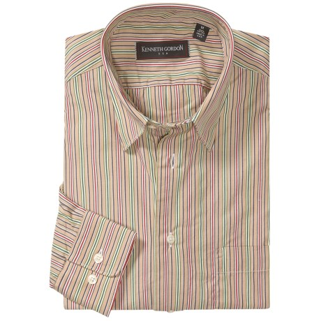 Kenneth Gordon Stripe Sport Shirt - Hidden Button-Down Collar, Long Sleeve (For Men)