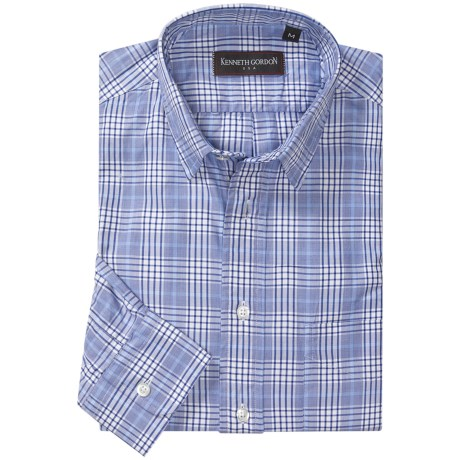 Kenneth Gordon Check Sport Shirt - Spread Collar, Two Button Cuff, Long Sleeve (For Men)