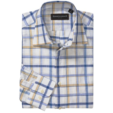 Kenneth Gordon Check Sport Shirt - Spread Collar, One Button Cuff, Long Sleeve (For Men)
