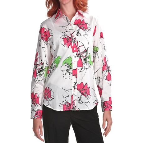Foxcroft Floral Shirt - Shaped, Long Sleeve (For Women)