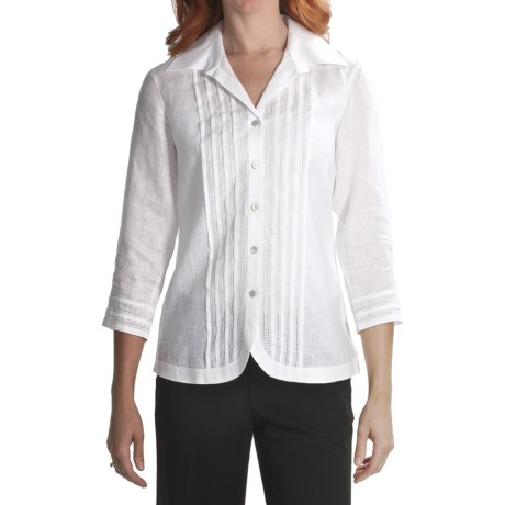 Foxcroft Fitted Pintuck Shirt - Linen, 3/4 Sleeve (For Women)
