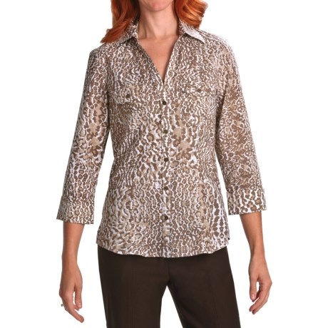 Foxcroft Fitted Wrinkle-Free Shirt - Cotton, 3/4 Sleeve (For Women)